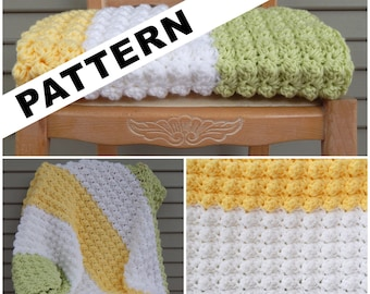 As seen on General Hospital / Pattern - Tri-Color Puff Blanket / green white yellow blanket / Crochet pattern / Baby blanket pattern