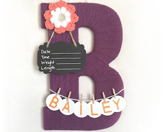"Letter ""B"" Hospital Door, Girl or Boy, Chalkboard Birth Info, Personalized Name"
