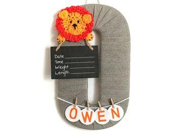 Hospital Door Hanger Boy / Nursery Door Decor / Letter O / Baby Boy Door Hanger / Crochet Lion / Baby Shower Gift / Door Hanger