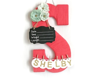 Hospital Door Hanger Girl / Nursery Door Decor / Letter S / Baby Girl Door Hanger / Coral and Mint Nursery  / Door Hanger