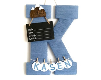 Hospital Door Hanger Boy / Nursery Door Decor / Letter K / Baby Boy Door Hanger / Mountains / Mountain Nursery / Door hanger Boy