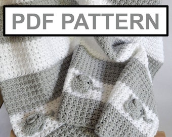PATTERN / As seen on TV!! Crocheted grey /white blanket with Elephant accent / Crochet blanket pattern / blanket pattern / crocheted pattern