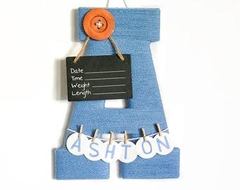 Letter A / Hospital door hanger / Baby shower gift / Nursery decor / Baby Boy / Birth announcement ideas / yarn letter