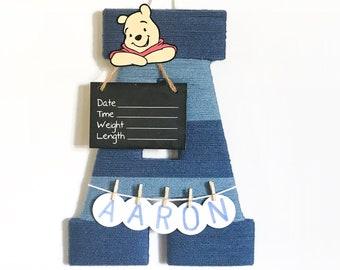Hospital Door Hanger Boy  / Nursery Door Decor / Letter A / Baby Boy Door Hanger / Unique baby hanger / Custom door hanger