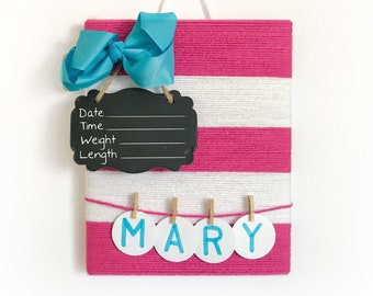Hospital Door Hanger Girl / Simplistic Door decor / Girl Door Hanger / Pink white turquoise  / Yarn Covered Hospital Decor / Simple design