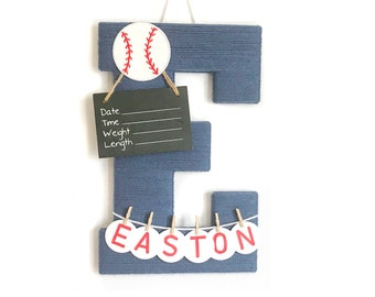 Hospital door hanger / Letter E /  Baby shower gift / Nursery decor / Personalized baby boy name / Birth announcement / Baseball Nursery
