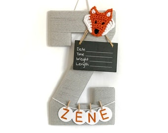 Hospital Door Hanger Boy / Nursery Door Decor / Letter Z / Baby Boy Door Hanger / Crochet Fox / Baby Shower Gift / Fox Nursery
