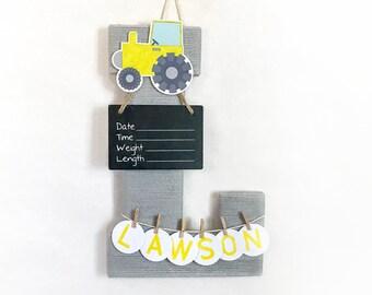 Hospital Door Hanger Boy / Nursery Door Decor / Letter L / Baby Boy Door Hanger / Yarn Letter / Baby Shower Gift / Door Hanger