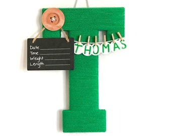 Hospital Door Hanger Boy / Nursery Door Decor / Letter D / Baby Boy Door Hanger / Green Nursery Decor / Large button