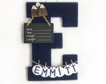 Hospital Door Hanger Boy / Nursery Door Decor / Letter E / Baby Boy Door Hanger / Yarn Letter / Baby Shower Decor / Mountain Nursery