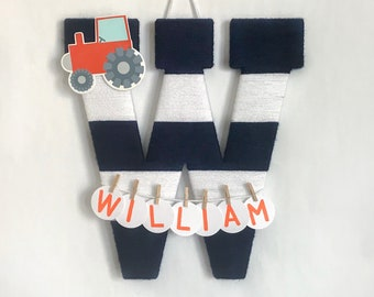 Hospital Door Hanger Boy / Nursery Door Decor / Letter W / Baby Boy Door Hanger / Yarn Letter / Baby Shower Decor / Farm Nursery / Tractor