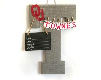 Hospital Door Hanger Boy / Nursery Door Decor / Letter T / Baby Boy Door Hanger  / Baby Shower Gift / Door Hanger