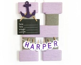 Hospital Door Hanger Girl / Nursery Door Decor / Letter H / Baby Girl Door Hanger  / Nautical nursery / Yarn letter / Anchor Nursery