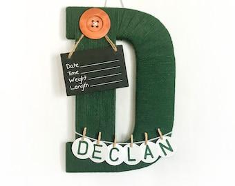 Hospital Door Hanger Boy / Nursery Door Decor / Letter D / Baby Boy Door Hanger  / Door Hanger Boy / Dark green nursery / button