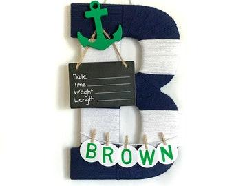 Hospital Door Hanger Boy / Nursery Door Decor / Letter B / Baby Boy Door Hanger / Anchor Nautical Nursery / Baby Shower Gift / Door Hanger