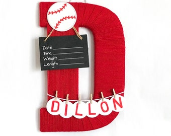 Hospital Door Hanger Boy / Nursery Door Decor / Letter D / Baby Boy Door Hanger / Yarn Letter / Baby Shower Gift / Baseball nursery