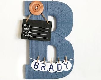 Hospital Door Hanger Boy / Nursery Door Decor / Letter B / Baby Boy Door Hanger / Yarn Letter / Baby Shower Gift / Door Hanger