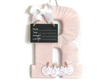 Hospital Door Hanger Girl / Nursery Door Decor / Letter R / Baby Girl Door Hanger / Door Hanger/ Baby Girl Rose