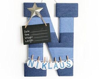 Hospital Door Hanger Boy / Nursery Door Decor / Letter N / Baby Boy Door Hanger  / Door Hanger Letter / Blue nursery