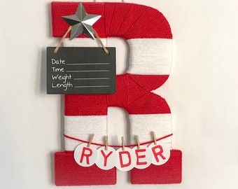 Hospital door hanger / Letter C / Baby room decor / Personalized baby boy name / Baby shower gift / Birth announcement