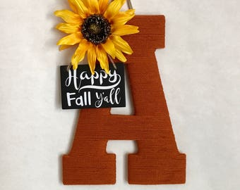 Fall door hanger, customized yarn letter, happy fall yall
