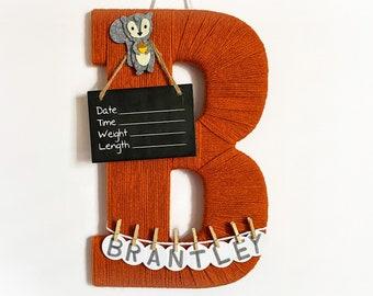 Hospital Door Hanger Boy  / Nursery Door Decor / Letter B / Baby Boy Door Hanger / Unique baby hanger / Woodland nursery