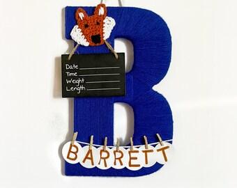 Hospital Door Hanger Boy  / Nursery Door Decor / Letter B / Baby Boy Door Hanger / Unique baby hanger / Woodland nursery / fox Nursery