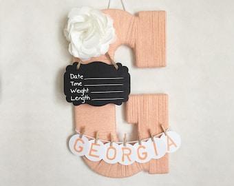 Hospital door hanger / Letter G / Baby shower gift / Yarn Letter / Baby room decor / Personalized baby girl name