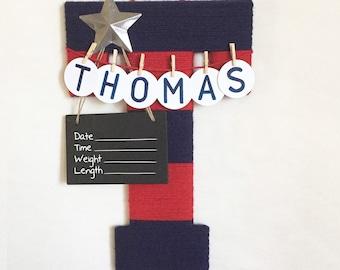 Letter T / Hospital door hanger / Baby shower gift / Nursery decor / newborn door hanger / Texas silver star / red and navy nursery