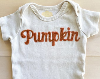 Thanksgiving hand embroidered ivory onesie with felt background, Newborn to 24 month sizing, Pumpkin onesie, First Thanksgiving outfit