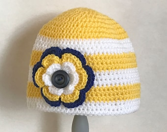 Striped crocheted hat with flower / Yellow White Navy / Button embellishment / School colors