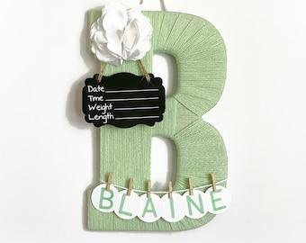 Hospital Door Hanger Girl  / Nursery Door Decor / Letter B / Baby Girl Door Hanger / Unique baby hanger / Mint color nursery