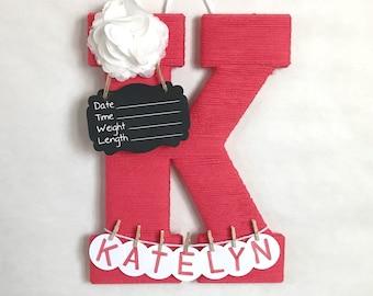 Hospital Door Hanger Girl / Nursery Door Decor / Letter K / Baby Girl Door Hanger / Coral Yarn Letter / Baby Shower Gift / Door Hanger