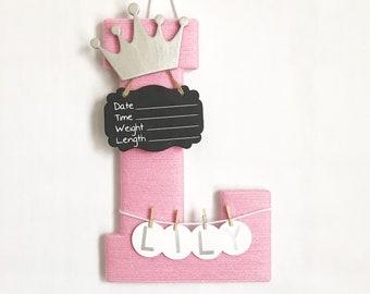 Hospital Door Hanger Girl / Nursery Door Decor / Letter L / Baby Girl Door Hanger / Yarn Letter / Baby Shower Gift / Door Hanger