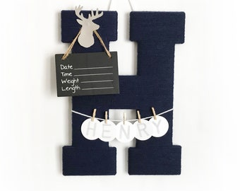 Hospital Door Hanger Boy / Nursery Door Decor / Letter H for Henry  / Baby Boy Door Hanger  / Door Hanger Boy / Navy Grey nursery / deer