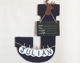 Hospital Door Hanger Boy / Nursery Door Decor / Letter J / Baby Boy Door Hanger / Leather Deer Hunting nursery / Door Decoration