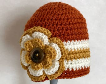 Fall crochted hat with flower embellishment