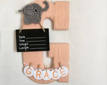 Hospital Door Hanger Girl / Nursery Door Decor / Letter G / Baby Girl Door Hanger / Crochet Elephant / Elephant Nursery / Door Hanger