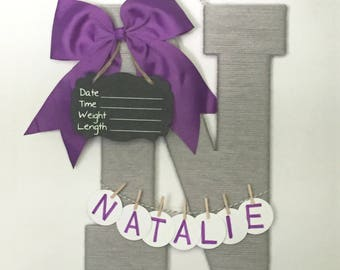 Letter N / Purple bow / Hospital door hanger baby girl / Baby shower gift / Nursery decor / Birth announcement ideas