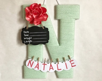 Hospital door hanger / Letter N /  Baby shower gift / Nursery decor / Personalized baby girl name / Birth announcement ideas