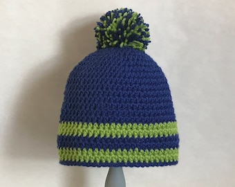 Striped crocheted hat / Royal blue with green / Pom Pom  / School colors
