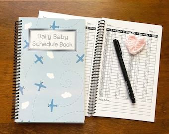 Newborn Daily Baby Schedule Book / Nursing Journal /Feeding Scheduling for Baby / Baby Log / Newborn Journal Food Log / airplane nursery