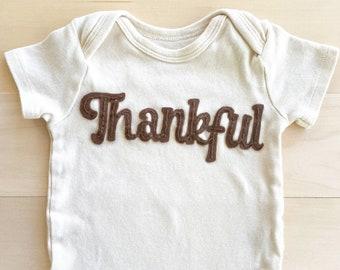 Thanksgiving hand embroidered ivory onesie with felt background, Newborn to 24 month sizing, Pumpkin onesie, Blessed, Thankful