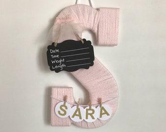 Hospital Door Hanger Girl / Nursery Door Decor / Letter S / Baby Girl Door Hanger / Ballerina Nursery / Baby Shower Gift / Door Hanger