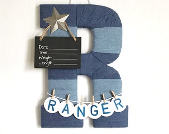 Hospital door hanger / Baby shower gift / Nursery decor / Personalized baby boy announcement / Door hanger boy / Rustic star