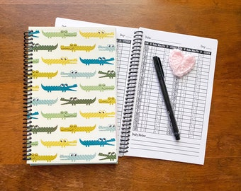 Daily Baby Schedule Book / Nursing Journal /  Feeding Scheduling for Baby / Baby Log / Newborn Journal / Alligator nursery decor / Gator