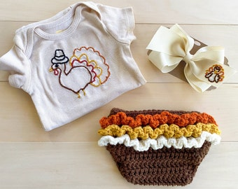 Thanksgiving ivory onesie with hand embroidered turkey, Crocheted ruffle butt diaper cover, bow headband / first thanksgiving outfit