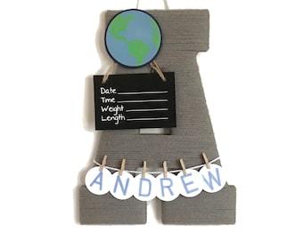 Hospital Door Hanger Boy  / Nursery Door Decor / Letter A / Baby Boy Door Hanger / Unique baby hanger / Baby Shower Gift / blue Nursery