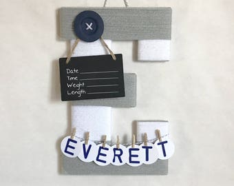 Hospital door hanger / Letter E /  Baby shower gift / Nursery decor / Personalized baby boy name / Birth announcement ideas