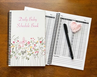 Newborn Daily Baby Schedule Book / Nursing Journal /Feeding Scheduling for Baby / Baby Log / Newborn Journal Food Log / flower nursery